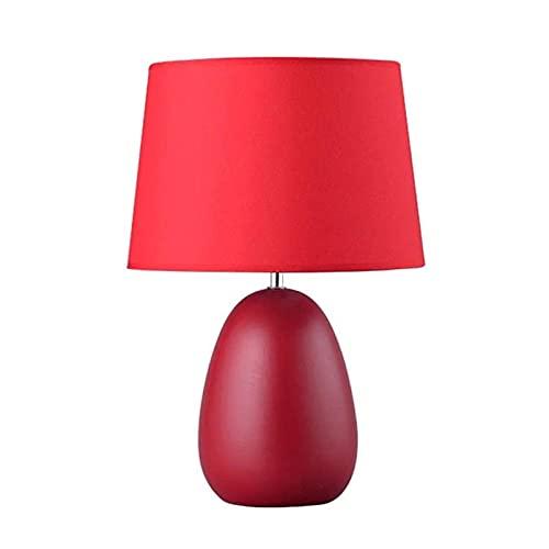 Lámpara de mesa de servicio Lámparas de escritorio Lámpara de mesa de cerámica oval de huevo pequeña lámpara de soporte de noche roja para niñas Habitación con dos lámparas de mesa de moda Lámpara de