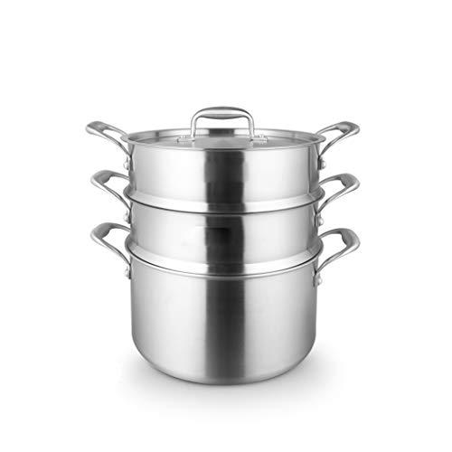 JXLBB Acier inoxydable 304 Steamer 18/10 Épaississement de cinq couches de pot de soupe de ménage Vapeur de cuisson à la vapeur 26cm Cinq couches d'acier fond de casserole monobloc en acier inoxydable