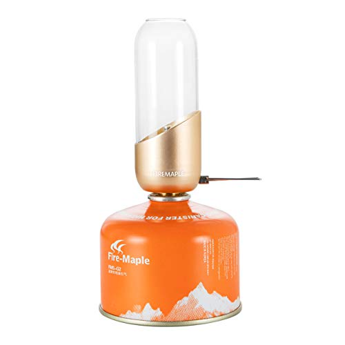 Fire-Maple Orange Camping Gas Lantern | Glass, Steel & Aluminum | Propane or Isobutane Fuel | Beautiful Lighting and Camping Lantern; NO Mantles Needed | Camping Gear | Emergency Essential