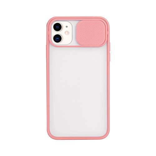 Funda compatible con iPhone 12 Pro Max, [protección de cámara] Slide Cap diseño funda funda para teléfono móvil mate duro translúcido, protector de lente para iPhone 12 Pro Max Case (rosa)