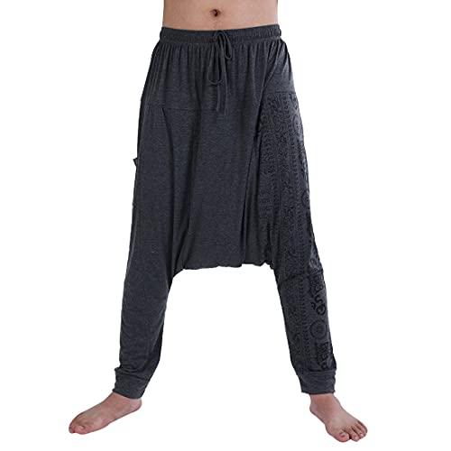 Dihope Pantalones de Estilo Hippie para Hombre, Estilo Retro, Pantalones de aladín,...