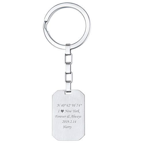 U7 Personalizzato Portachivi Pendente Personalizzabile Testo Nome Data Cindolo Dog Tag, Acciaio Inox, Catena Regolabile, con Confezione, Incisione Gratuita DIY (Argento)