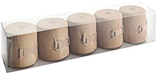 Wero Swiss® Elastic Cotton Bandage Wrap with Clips, Short Stretch Compression Wrap for Sports Injuries, First Aid & Vet, Set of Non-Adhesive Bandage Rolls, Brown, 2 inch x 5yd (5 Pieces)