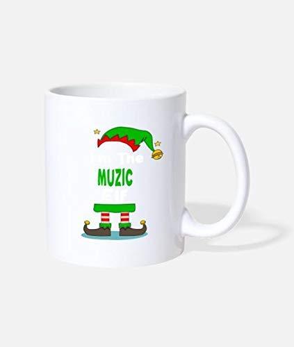 N\A I 'M The Muzic Elf Navidad a Juego Taza de cerámica de 11 onzas Taza de café Divertida y novedosa Mejor Idea de Navidad Vacaciones de año Nuevo para Familiares Amigos Compañeros