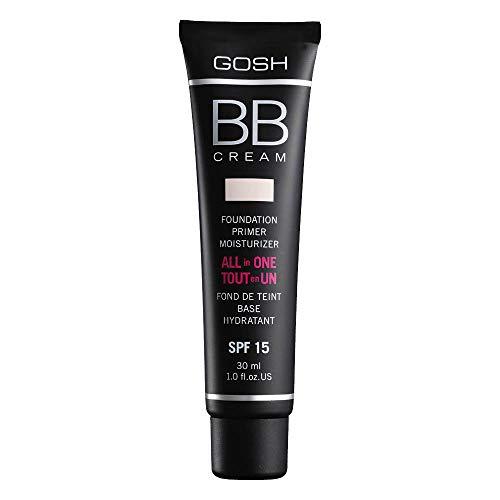 GOSH BB Cream 3-in-1: Primer, Foundation & Feuchtigkeitscreme, 30ml I Make-Up für ein gepflegtes Hautbild & strahlenden Teint I Abdeckung von Unreinheiten & Rötungen I 100% Vegan & LSF 15 I 001 Sand