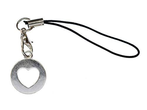 Miniblings Colgante de corazón para teléfono móvil, diseño de círculo de plata, 15 mm, hecho a mano, joya para el teléfono móvil
