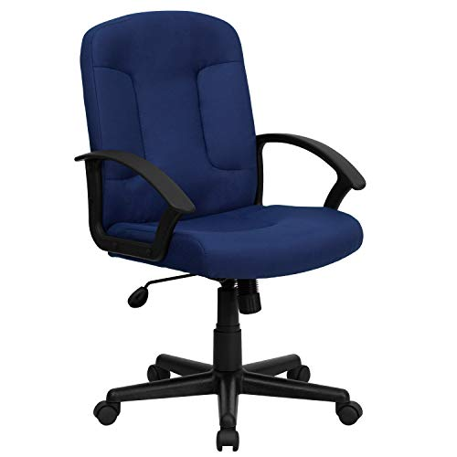 Flash Furniture Mid-Back Navy Fabric Executive Swivel Office Chair with Nylon Arms