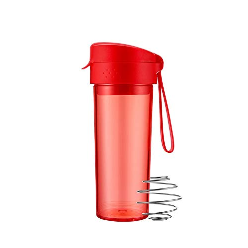 DDSPAL Shake Cup Fitness Protein Powder Cup Female Portable Sports Cup Milkshake Cup Stirring Cup High Temperature Tritan Material 304 Stainless Steel Stirring Ball (Color : Red)