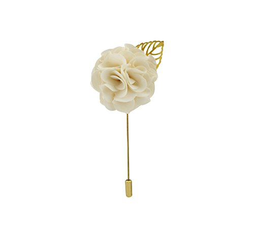 Knighthood Men's Off-White Bunch Flower with Golden Leaf Lapel Pin/Brooch