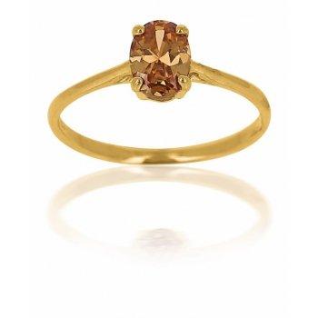 Avenuedubijou - Anello da donna in oro giallo 18 kt con pietra ambra e In oro giallo 750/1000, 12, cod. 5264-52