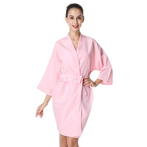 YUENA CARE Bata de Masaje en SPA, Bata de Kimono de Salón de Belleza, Bata de Peluquería para Cliente Estilo Kimono, Capa para Peluquería, Uniforme de Cliente Rosa
