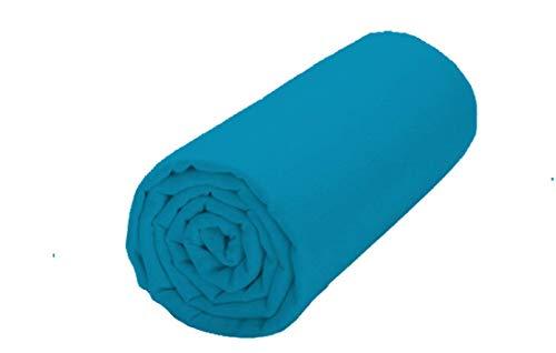 UNIVERS-DECOR Drap Housse 57 Fils/cm² 140 x 190 cm Bleu Turquoise