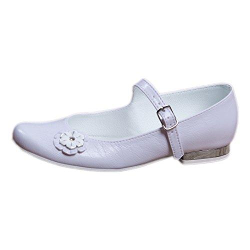 EMEL Kommunionschuhe Kinderschuhe für Mädchen Ballerina weiß Mod. 330 (36)