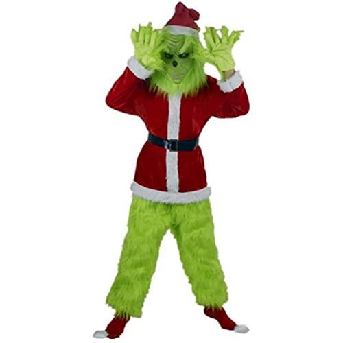 Vssictor Juego de 7 piezas de disfraz de Grinch Green Cmo el Grinch Rob la Navidad  Incluye mscara de Halloween Navidad divertido disfraz de Santa Claus Set Party Play Service (S)