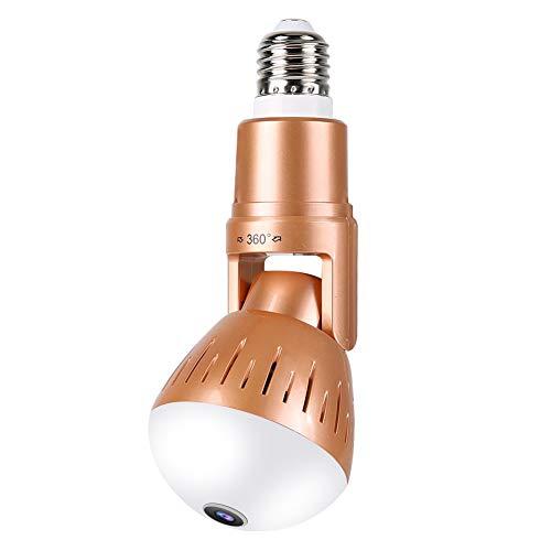 Wifi Bombilla Cámara, HD 1080p 360 ° Cámara Panorámica Bombilla Bombilla Seguridad para el Hogar Fuentes de Luz Dual Cámara para el Hogar, Seguridad de la Oficina