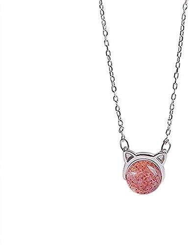 AOAOTOTQ Co.,ltd Collar Plata Color Gato Fresa Cristal Mujer Clavícula Cadena 38 + 3Cm Amo su Mejor Regalo