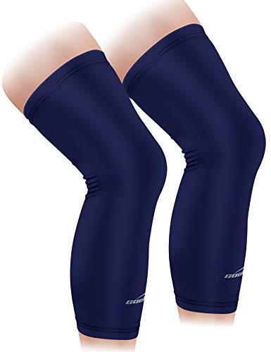 COOLOMG Calentador de rodilla para ciclismo, baloncesto, fútbol, protección UV, antideslizante, para hombre, mujer, niños, jóvenes, azul marino, XXS (1 par)