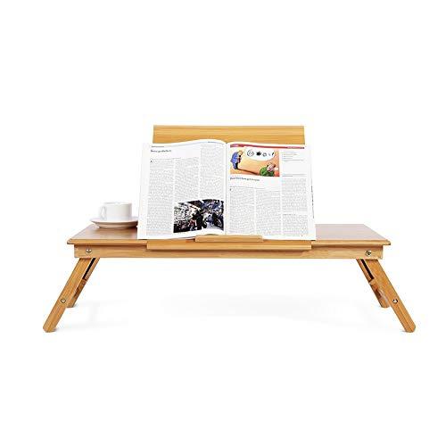 WJIN Cama para computadora portátil, Mesa de Cama Plegable de bambú portátil para computadora portátil, Mesa de Cama con Bandeja de Altura Ajustable y cajón