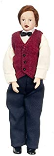 Melody Dollhouse Man Gentleman Father in Bow Tie Miniature 1:12 Porcelain People