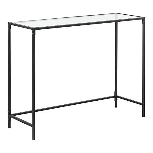 [en.casa] Konsolentisch Alajärvi 100 x 35 x 80 cm Flurtisch Konsole Glas-Tischplatte Kommode Highboard Glas Stahl Schwarz