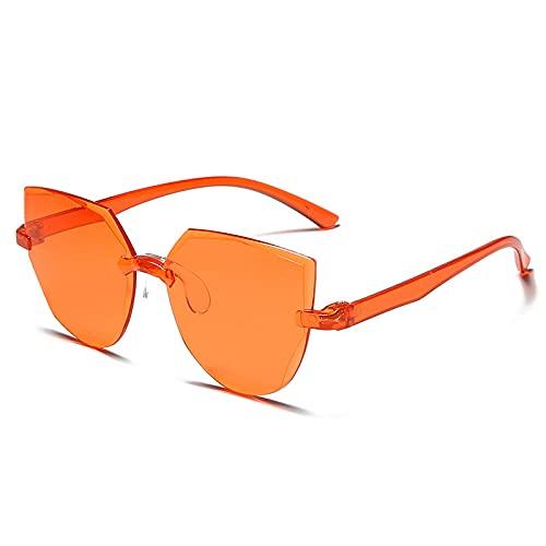 WQZYY&ASDCD Gafas de Sol Gafas De Conductor Gafas De Sol De Ojos De Gato Sin Montura con Espejo Vintage Gafas De Sol Transparentes Lentes De Océano Steampunk Gafas Punk Sombras Uv400-C_