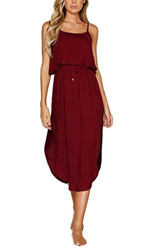 pengxiang86207 Baumwoll-Kleid, Damen, verstellbar, mit Trägern, für Sommer, Strand, bequem, Midi-Rock Gr. Medium, rot
