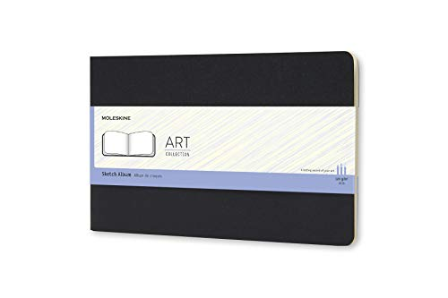 Moleskine - Art Collection, Cuaderno para Dibujo y Bocetos, Tapa Dura, Papel Apto para Bolígrafos, Lápices y Carboncillo, Color Negro, Tamaño Grande 13 x 21 cm, 88 Páginas