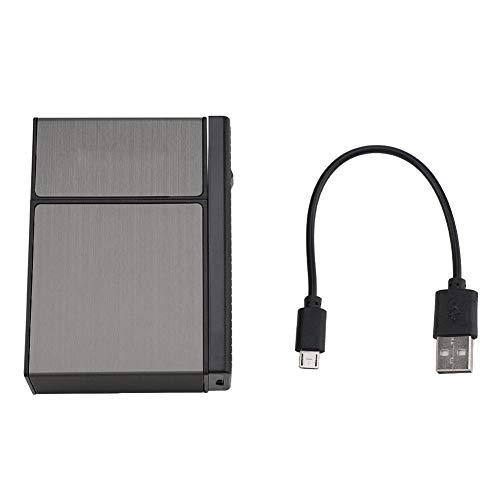 DOACT USB Oplaadbare Aansteker, Aansteker Sigaret Case Combinatie, Afneembare Sigaret Case, Aansteker Anti-Strong Wind Vlamloze Rookloze Ontsteking
