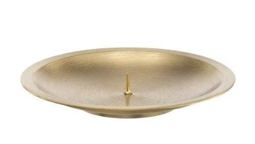 Kerzenteller aus Messing mit Dorn 8 cm Matt