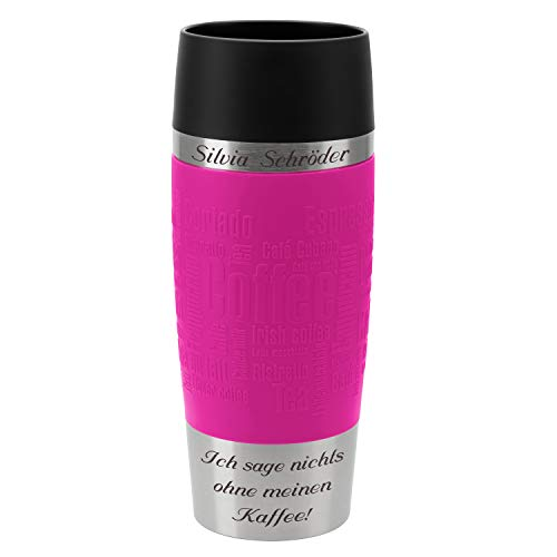 Emsa Thermobecher Travel Mug Himbeere 360 ml mit persönlicher Rund-Gravur gelasert Edelstahl Soft-Touch-Manschette pink Quick Express Verschluss