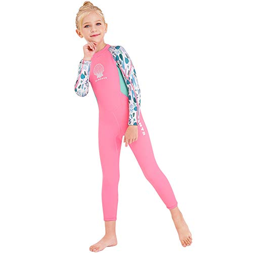 Kids Girls Boys Wetsuit Full Body Neoprene Thermal Swimsuit 2.5MM for Toddler Youth Children Teen, Long Sleeve Child Scuba Diving Surf Suit One Piece Sun Protection for Water Sports (Girl Pink, XL)