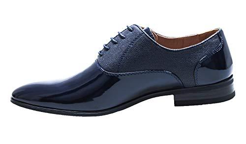 Evoga Scarpe uomo class blu scuro vernice linea classica eleganti cerimonia (44, Blu)