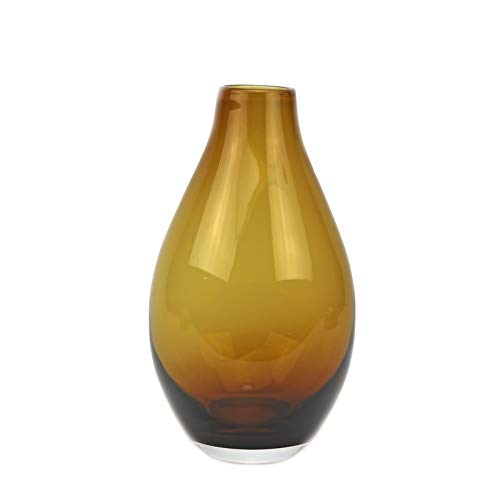 Murano Art Collection European Art Glass Tear Drop Vase Amber