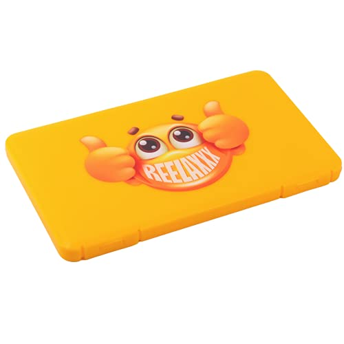 REELAXXX - Porta Mascarillas - Caja Plástica de Almacenamiento para máscaras - Joyas - Tarjetas y Accesorios - Funda Mascarilla - Bolsillo en el Maletero - Estuche Plegable - Transporte (Amarillo)