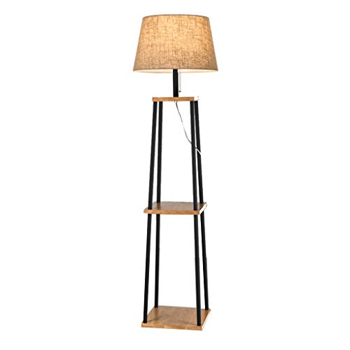 Houten Vloerlamp Metalen LED Vloerlamp met Plank voor Woonkamer Slaapkamer Dubbele Laag Staande Vloerlamp, 156cm, E27 01-21