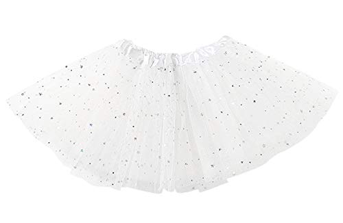 Happy Cherry - Falda Tutú de Ballet con Capas para Niñas Princesa Disfraz Vestido de Tul para Princesa con Estrellas Brillantes para Fiesta - Blanco