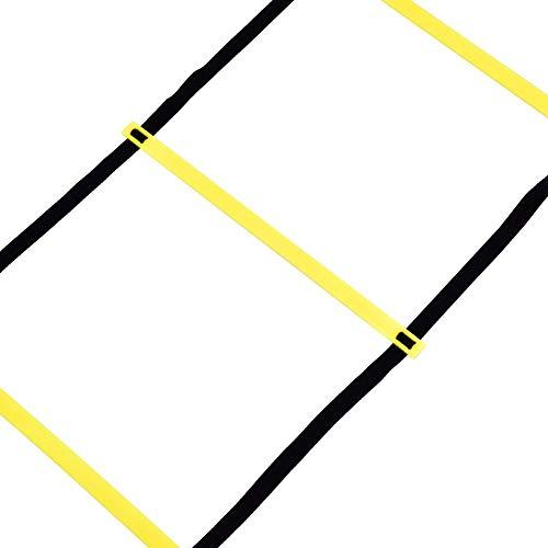 MAGT Escalera de Entrenamiento de fútbol, balón de fútbol 4m Flexibilidad de fútbol Entrenamiento de Velocidad Escalera de Salto de Fitness con Bolsa de Almacenamiento