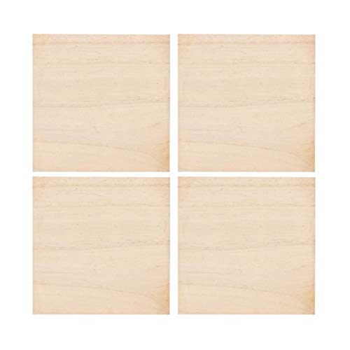 Supvox unvollendete quadratische Holzstücke - 4er-Pack Holzscheiben Holzrohling zum Bemalen Schnitzen Heimtextilien Kunst & Bastelprojekte | 4 × 4 Zoll