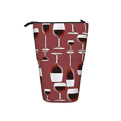 Botella telescópica lápiz bolsa bolso de la pluma del vino rojo caja de lápiz del organizador del lápiz del bolso de la caja cosmética