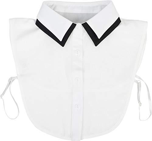 styleBREAKER Damen Blusenkragen Einsatz mit farblich abgesetztem Kragen und Knopfleiste, Kragen für Blusen und Pullover 08020008, Farbe:Weiß-Schwarz