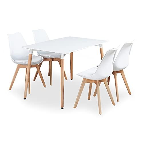 P & N Homewares Lorenzo Esstisch und 4 Stühle Set Retro und Modern Dining Set Weiß Schwarz und Grau Stühle mit weißen Esstisch skandinavisch (Weisse STÜHLE)