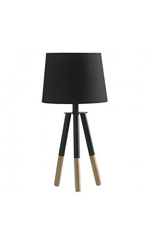 CAMINO A CASA - Lampe à poser noire tissu et bois NATURE