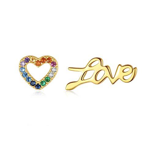 18K Gold Plated Silver Rainbow CZ Stud Earrings for Women Dainty Ear Crawler Heart Shape Earrings Studs S925 Moon Star Huggie Fine Jewelry (D-Love)