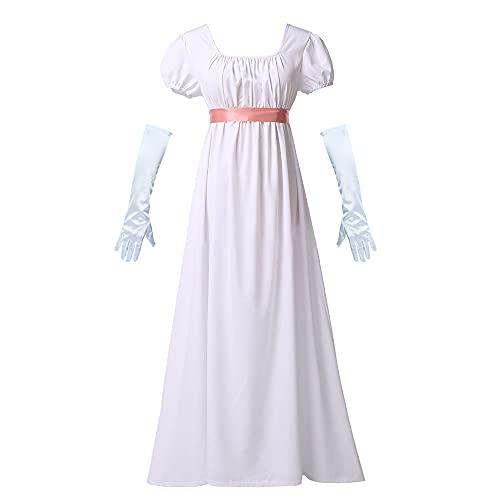 Disfraz de Época de la Regencia Vestido de Época Romántica para Mujer, Vestido de Cintura Alta Renacentista Vintage con Faja de Satén Vestido Victoriano de Halloween