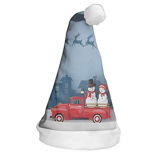 Funny Santa Claus and Reindeer is Driving A Red Car Christmas Hat, Santa Hat, Xmas Party Hat for Kids Girls Boys S