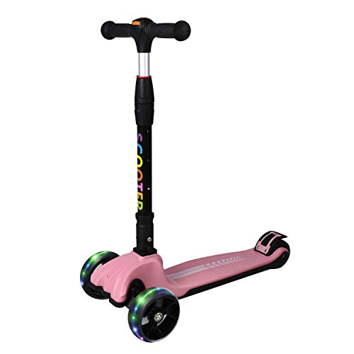 Loowoko Kids Scooter with Folding & Adjustable Height Handbar, Sturdy Metal Frame & Light up 3 Wheel Scooter, Toddler Self Banlancing Kick Scooters for Kid Ages 3 and up