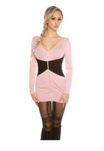 Koucla Damen 2Way Strickkleid Minikleid Zipper Long Pullover Pulli