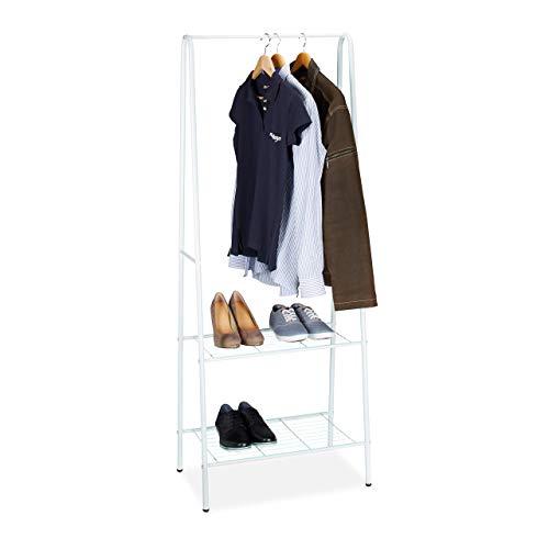Relaxdays Kleiderständer Sandra mit 2 Ablagen, Metall, Garderobenständer, mit Kleiderstange, HBT: 160 x 61,5 x 38 cm, weiß