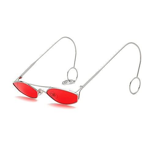 QWKLNRA Gafas De Sol para Hombre Marco De Color Plateado Lente Roja Gafas De Sol Únicas Pequeñas contra Los Rayos UV Mujeres Pendiente Aro De Hierro Moda Hombres Gafas De Sol Transparentes Uv400 C