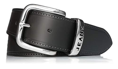 almela - Cinturón de Hombre y Mujer Jeans Sport Wear - Piel legítima - 4cm de ancho - Cuero - 40mm - Vaqueros - Tejanos - Wrangler (Negro, 110)